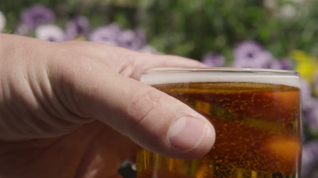 Man lifts glass of cider in pub garden, Bristol, England
