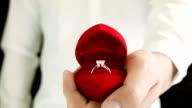 Man making proposal with wedding ring.