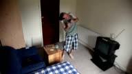 Man on drugs dancing in the room