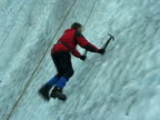 Man On Glacier Ice Wall, Climbing