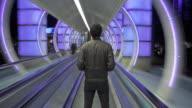 WS POV T/L Man on moving walkway / Las Vegas, Nevada, USA