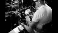 Man operating a newspaper typesetting machine Man operating a newspaper typesetting machine on January 01 1939