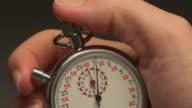 ECU, Man operating stopwatch, close-up of hand