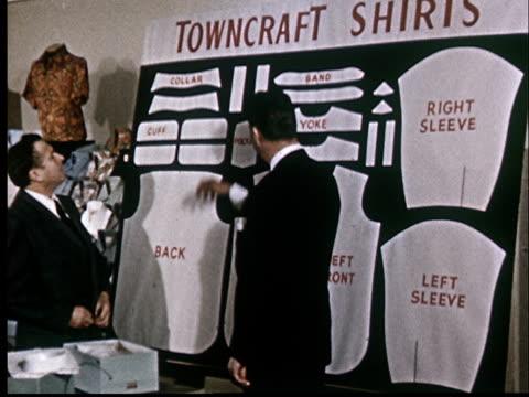 MS, Man presenting shirt sewing patterns