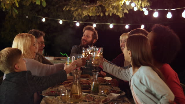 DS Man proposing a toast to his family members at a barbecue dinner