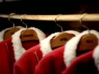 PAN, CU, SELECTIVE FOCUS,  man putting Santa coat in wardrobe, Slovenia