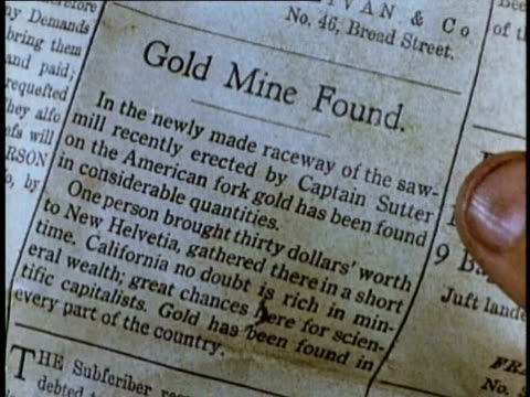 1848 REENACTMENT MONTAGE Man reading newspaper account of gold found at Sutter's Mill, California, USA, AUDIO