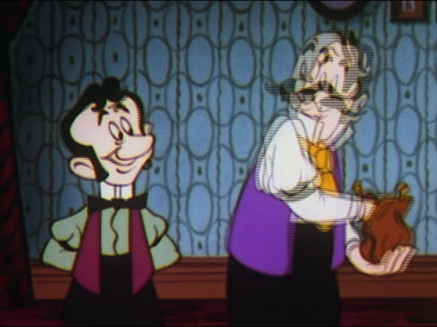 1948 ANIMATION man removing gleaming gold coin from change purse to give to man / late 19th century