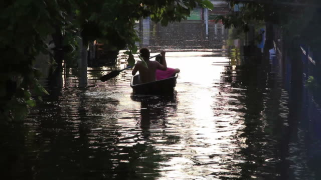 Man rowing boat in flooding area.