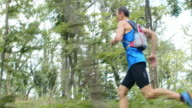 TS Man running across the forest