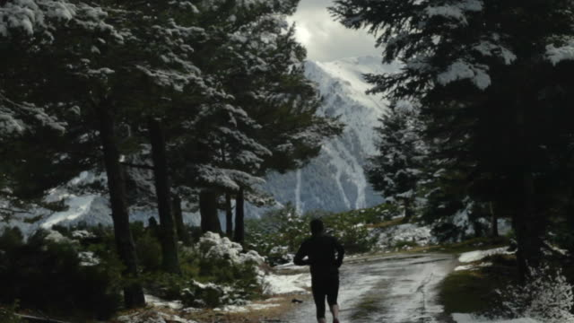 Man running on a mountain trail in the middle of a spectacular snowy pine forest