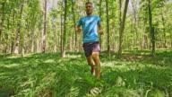 SLO MO Man running through fern