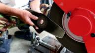 man sharpening knife video HD.