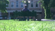 (HD1080i) Man Sits on Park Bench, Thinking