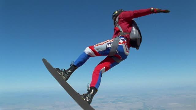CU, MS, Man skydiving, Eloy, Arizona, USA