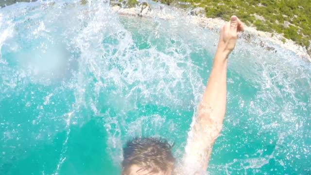 SLO MO Man Splashing In The Sea