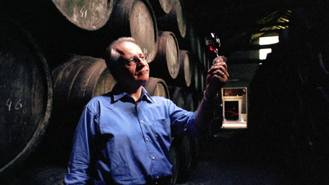 Man standing in front of stacked barrels examining + smelling red wine / Porto, Portugal