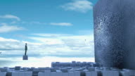 CGI WS Man standing on cube watching wall transform into face