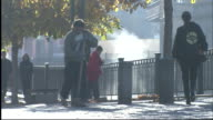 Man sweeps pavement in Karlovy Vary