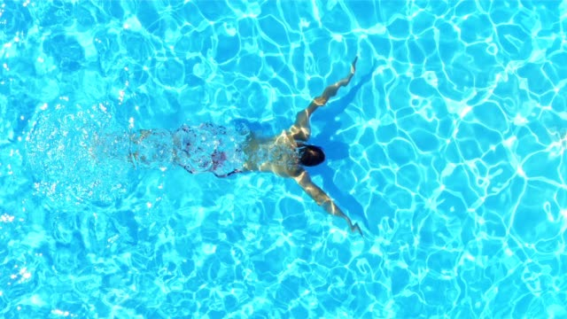 SLO MO Man swimming underwater in a pool