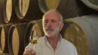 CU Man tasting and checking wine / Sanlucar de Barrameda, Andalusia, Spain