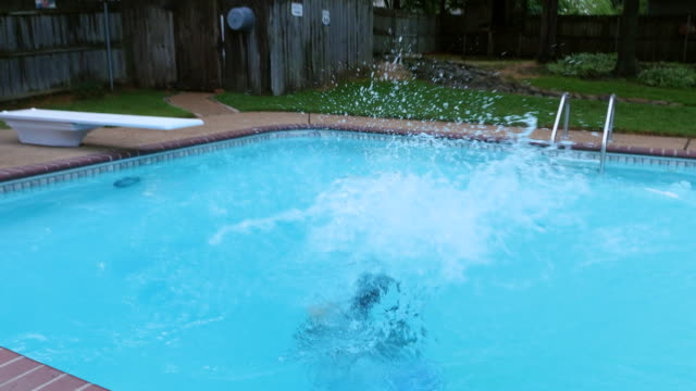 MS TS Man throwing woman in pool during party on summer evening