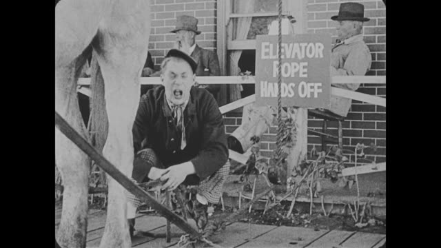 A man ties his horses reigns to a rope in front of a sign that reads 'Elevator Rope Hands Off', sneezes, and blows his nose in the horse's tail