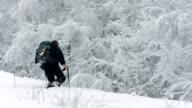 HD: Man Trudging Through Deep Snow