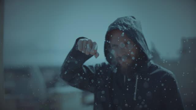 Man under a heavy storm