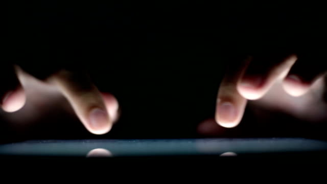 Man use tablet close-up