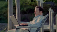 Man using laptop on lakeside dock placing hands behind head, leaning back in chair, and closing eyes