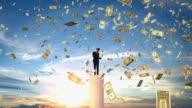 CGI WS Man using laptop, standing on pillar, US Dollar notes flying around him