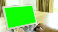 Man using laptop with green screen