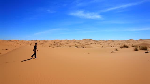 Man Walking Alone in the Sahara, HD Video