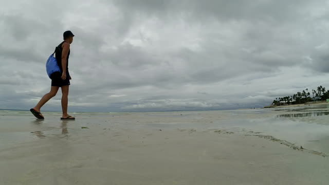 Man walking on a low tide beach
