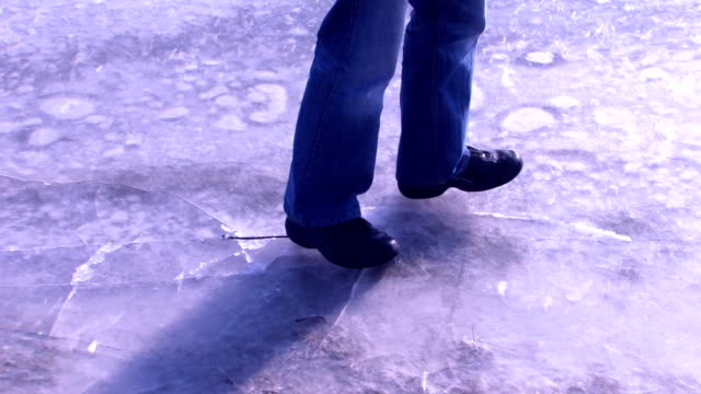Man walking on thin ice