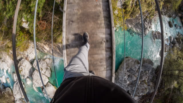 Man walking over a hanging bridge across a mountain stream