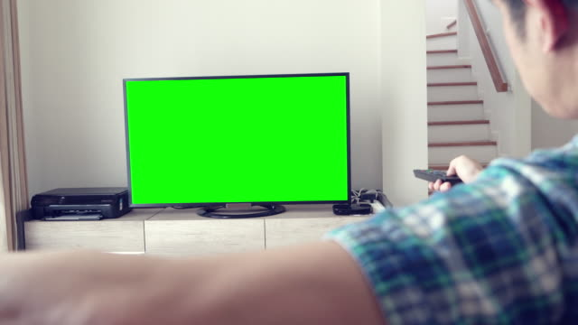 Man Watches Television green screen