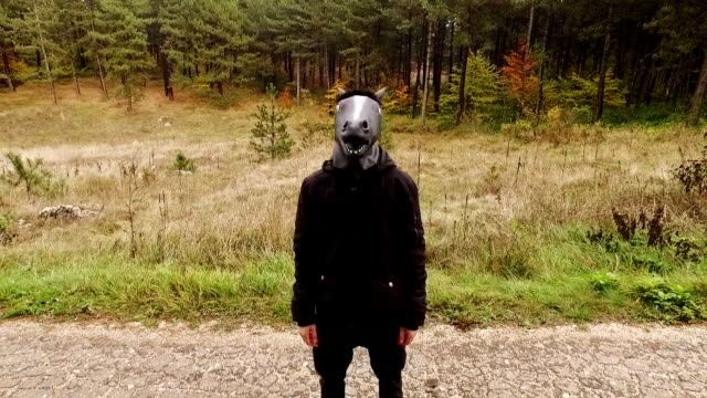 Man wearing horse costume. Slow motion