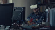 Man wearing virtual reality headset at office