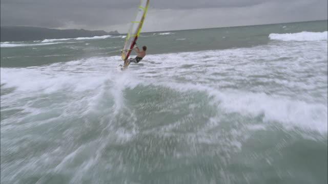 WS, HA, Man windsurfing in ocean, Maui, Hawaii, USA