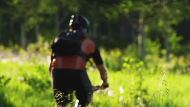 MS PAN Man with artificial limb riding mountain bike through meadow / American Fork Canyon, Utah, USA