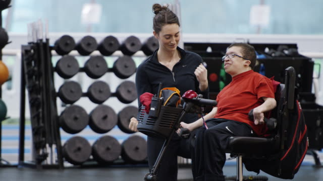 Man with Disability Workout with Personal Trainer