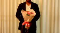 Man with rose bouquet folwer