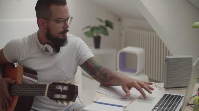 4K: Man Working In His Recording Studio.