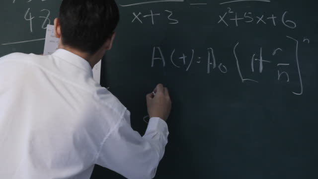 MS PAN Man writing Chinese characters on blackboard / Singapore