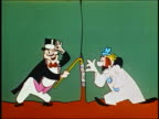 ANIMATION man w/top hat and clown open curtain exposing popcorn stand / 'Its Intermission Time' sign