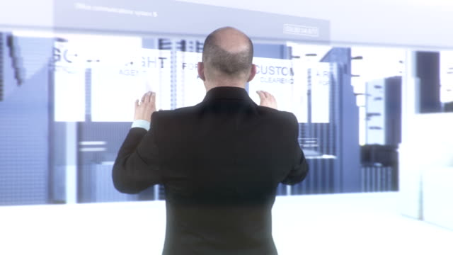 HD: Manager Doing Research On Futuristic Screen