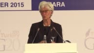 IMF managing director Christine Lagarde closes the G20 meeting evoking the refugee crisis in Europe American interest rates and ongoing discussions...