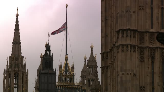 Election campaign suspended / International reactions ENGLAND London Westminster EXT Union Jack flag flying at half mast over Westminster Palace...